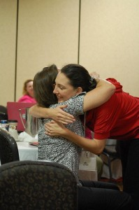 Hugging my mom after the announcement. Thanks to @MrsCrumley of http://alwaysalli.com/ for this amazing photo.